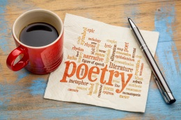 poetry word cloud on napkin